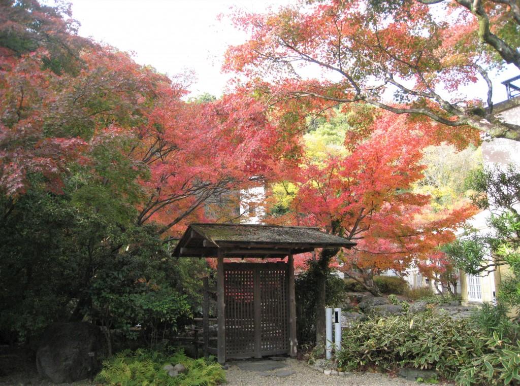 洋風の本館の前に、和風な門が。